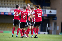 Exeter celebrate the stoppage time equaliser which rescued a point, the goal scored by Alex Fisher of Exeter City during Southend United vs Exeter City, Sky Bet EFL League 2 Football at Roots Hall on 10th October 2020