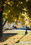 Sitting on a park bench along the river in downtown Missoula