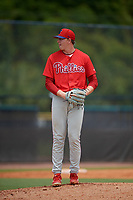 GCL Phillies West pitcher Austin Crowson (54) during a Gulf Coast League game against the GCL Yankees East on July 26, 2019 at the New York Yankees Minor League Complex in Tampa, Florida.  (Mike Janes/Four Seam Images)