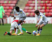 10th October 2020; Bescot Stadium, Walsall, West Midlands, England; English Football League Two, Walsall FC versus Colchester United; Liam Kinyell of Walsall is tackled by Jevani Brown of Colchester United and Noah Chilvers of Colchester United