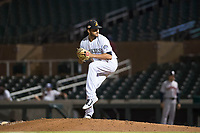 Salt River Rafters relief pitcher Justin Lawrence (61), of the Colorado Rockies organization, delivers a pitch during an Arizona Fall League game against the Scottsdale Scorpions at Salt River Fields at Talking Stick on October 11, 2018 in Scottsdale, Arizona. Salt River defeated Scottsdale 7-6. (Zachary Lucy/Four Seam Images)