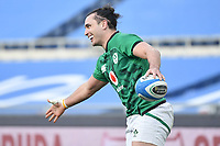 James Lowe  of Ireland celebrates after scoring a try<br /> Roma, Olimpico stadium, 27/02/2021.<br /> Italy vs Ireland <br /> Six Nations 2021 rugby trophy <br /> Photo Antonietta Baldassarre/ Insidefoto