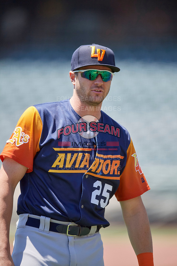 Austin Allen (25) of the Las Vegas Aviators before the game against the Salt Lake Bees at Smith's Ballpark on June 27, 2021 in Salt Lake City, Utah. The Aviators defeated the Bees 5-3. (Stephen Smith/Four Seam Images)