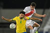 5th July 2021; Nilton Santos Stadium, Rio de Janeiro, Brazil; Copa America, Brazil versus Peru; Marquinhos of Brazil and Santiago Ormeño of Peru