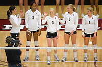 STANFORD, CA - DECEMBER 5:  Cynthia Barboza, Janet Okogbaa, Joanna Evans, Alex Fisher and Katherine Knox of the Stanford Cardinal during Stanford's 3-0 win over Albany in the NCAA Division 1 Women's Volleyball first round on December 5, 2008 at Maples Pavilion in Stanford, California.