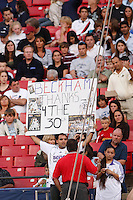 A fan holds a David Beckham sign thanking him for Real Madrid's 30th La Liga title prior to the start of an MLS regular season match against the New York Red Bulls at Giants Stadium, East Rutherford, NJ, on August 18, 2007. The Red Bulls defeated the Galaxy 5-4.
