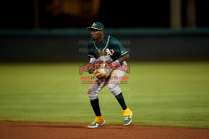 AZL Athletics Green second baseman Givaine Basilia (1) during an Arizona League game against the AZL Dodgers Lasorda at Camelback Ranch on June 19, 2019 in Glendale, Arizona. AZL Dodgers Lasorda defeated AZL Athletics Green 9-5. (Zachary Lucy/Four Seam Images)