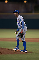 AZL Royals relief pitcher Adrian Alcantara (25) during an Arizona League game against the AZL Giants Black at Scottsdale Stadium on August 7, 2018 in Scottsdale, Arizona. The AZL Giants Black defeated the AZL Royals by a score of 2-1. (Zachary Lucy/Four Seam Images)