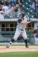 Tyler Collins (18) of the Toledo Mud Hens at bat against the Charlotte Knights at BB&T BallPark on April 27, 2015 in Charlotte, North Carolina.  The Knights defeated the Mud Hens 7-6 in 10 innings.   (Brian Westerholt/Four Seam Images)