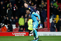Matty Cash of Nottingham Forest and Brice Samba during the Sky Bet Championship match between Brentford and Nottingham Forest at Griffin Park, London, England on 28 January 2020. Photo by Carlton Myrie.