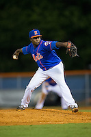 Kingsport Mets relief pitcher Eucebio Arias (46) in action against the Elizabethton Twins at Hunter Wright Stadium on July 8, 2015 in Kingsport, Tennessee.  The Mets defeated the Twins 8-2. (Brian Westerholt/Four Seam Images)