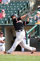 Norfolk Tides designated hitter Brandon Snyder #29 hits a grand slam home run during a game against the Rochester Red Wings at Frontier Field on June 5, 2011 in Rochester, New York.  Norfolk defeated Rochester 11-5 in eleven innings.  Photo By Mike Janes/Four Seam Images