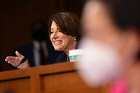 United States Senator Amy Klobuchar (Democrat of Minnesota) speaks during a Senate Judiciary Committee business meeting  in the Hart Senate Office Building on Capitol Hill in Washington, DC on October 15, 2020. <br /> Credit: Mandel Ngan / Pool via CNP /MediaPunch