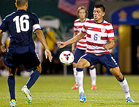 PORTLAND, Ore. - July 9, 2013: Joe Corona collects a pass in the second half. The US Men's National team plays the National team of Belize during the 2013 Gold Cup at at JELD-WEN Field.