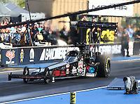 Jul 23, 2016; Morrison, CO, USA; NHRA top fuel driver Scott Palmer during qualifying for the Mile High Nationals at Bandimere Speedway. Mandatory Credit: Mark J. Rebilas-USA TODAY Sports