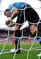 July 26, 2012..Uruguay's Sebastian Coates (4) celebrates a goal by Uruguay. UAE vs Uruguay Football match during 2012 Olympic Games at Old Trafford in Manchester, England. Uruguay defeat United Arab Emirates 2-1...