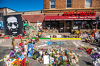 General Atmosphere of the George Floyd Memorial at the site where he died outside Cup Foods at E 38th Street and Chicago Avenue during the Derek Chauvin Trial on April 1, 2021 in Minneapolis, Minnesota. <br /> CAP/MPI/IS/CT<br /> ©CT/IS/MPI/Capital Pictures