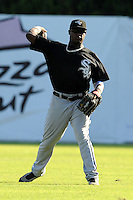 Bristol White Sox center fielder Courtney Hawkins #34 throws in from center field during a game against the Kingsport Mets at Hunter Wright Stadium on July 28, 2012 in Kingsport, Tennessee. The Mets defeated the White Sox 9-5. (Tony Farlow/Four Seam Images).