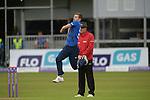 Mark Wood bowling for England at the Ireland v England One Day Cricket International held at Malahide Cricket Club, Dublin, Ireland. 8th May 2015.<br /> Photo: Joe Curtis/www.newsfile.ie