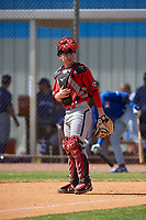 Canada Junior National Team catcher Connor Caskenette (34) during an exhibition game against the Toronto Blue Jays on March 8, 2020 at Baseball City in St. Petersburg, Florida.  (Mike Janes/Four Seam Images)