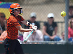 Douglas Tigers' Madi Parks hits against the Galena Grizzlies in a first round game of the NIAA northern region softball tournament in Reno, Nev., on Thursday, May 15, 2014. Galena won 5-4.<br /> Photo by Cathleen Allison