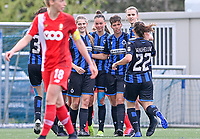 Charlotte Laridon (15) of Club Brugge pictured celebrating with teammates after scoring a goal during a female soccer game between Club Brugge Dames YLA and Standard Femine de Liege on the seventh matchday in Play-Off 1 of the 2020 - 2021 season of Belgian Scooore Womens Super League , saturday 15 May 2021  in Brugge , Belgium . PHOTO SPORTPIX.BE | SPP | DAVID CATRY