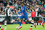 Ousmane Dembele (C) of FC Barcelona is tackled by Ivan Lopez Alvarez, Ivi (L), and Sasa Lukic of Levante UD during the La Liga 2017-18 match between FC Barcelona and Levante UD at Camp Nou on 07 January 2018 in Barcelona, Spain. Photo by Vicens Gimenez / Power Sport Images