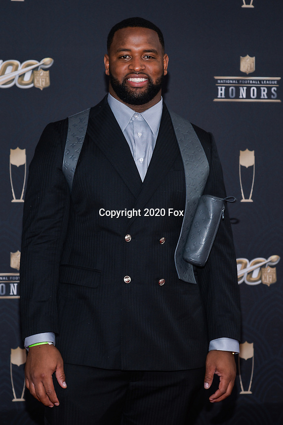 MIAMI, FL - FEBRUARY 1: Davon Godchaux  attends the 2020 NFL Honors at the Ziff Ballet Opera House during Super Bowl LIV week on February 1, 2020 in Miami, Florida. (Photo by Anthony Behar/Fox Sports/PictureGroup)