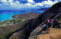 Two hikers enjoying view on Lanikai ridge trail