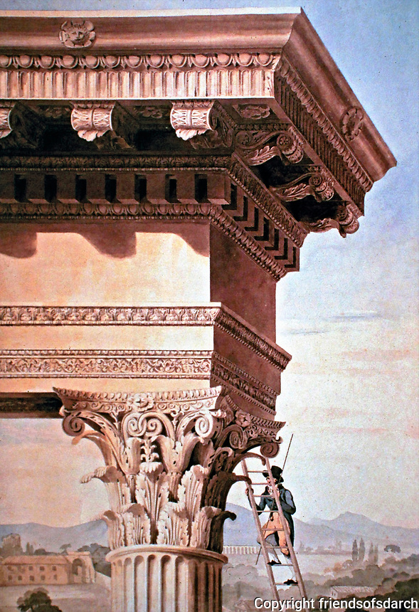 Henry Parke, Royal Academy lecture drawing showing a student on a ladder, with a rod, measuring the Corinthian order of the Temple of Jupiter Strator, Rome. Located in John Soane's Museum.