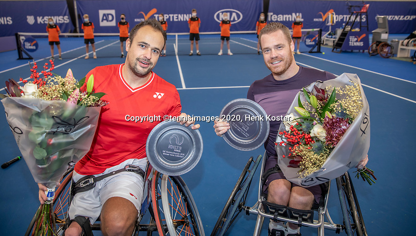 Amstelveen, Netherlands, 12  December, 2020, National Tennis Center, NTC, NKR, National   Indoor Wheelchair Tennis Championships, Men's Doubles Final : Winners Tom Egberink (NED) and Maikel Scheffers (NED) (R)<br /> Photo: Henk Koster/tennisimages.com
