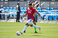 SAN JOSE, CA - APRIL 24: Freddy Vargas #17 of FC Dallas passes the ball during a game between FC Dallas and San Jose Earthquakes at PayPal Park on April 24, 2021 in San Jose, California.