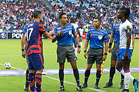 KANSAS CITY, KS - JULY 11: coin toss during a game between Haiti and USMNT at Children's Mercy Park on July 11, 2021 in Kansas City, Kansas.