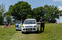 SURREY, ENGLAND. 25.05.2020<br /> .<br /> Police arrive during the bank holiday Monday Covid-19 lockdown with government guidelines to social distance  at OUSE RIVER VALLEY VIADUCT, England at  on 25 May 2020. Photo by Alan Stanford.