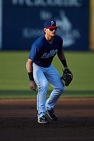 Kannapolis Cannon Ballers third baseman AJ Gill (21) on defense against the Down East Wood Ducks at Atrium Health Ballpark on May 8, 2021 in Kannapolis, North Carolina. (Brian Westerholt/Four Seam Images)