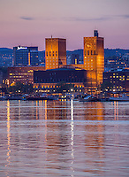 Oslo City Hall, as seen during night from the island Hovedøya.