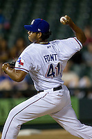 Round Rock Express pitcher Wilmer Font (41) delivers a pitch to the plate during the Pacific Coast League baseball game against the New Orleans Zephyrs on June 30, 2013 at the Dell Diamond in Round Rock, Texas. Round Rock defeated New Orleans 5-1. (Andrew Woolley/Four Seam Images)