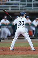 Mason Nadeau (20) of the Penn State Nittany Lions at bat against the Xavier Musketeers at Coleman Field at the USA Baseball National Training Center on February 25, 2017 in Cary, North Carolina. The Musketeers defeated the Nittany Lions 10-4 in game one of a double header. (Brian Westerholt/Four Seam Images)