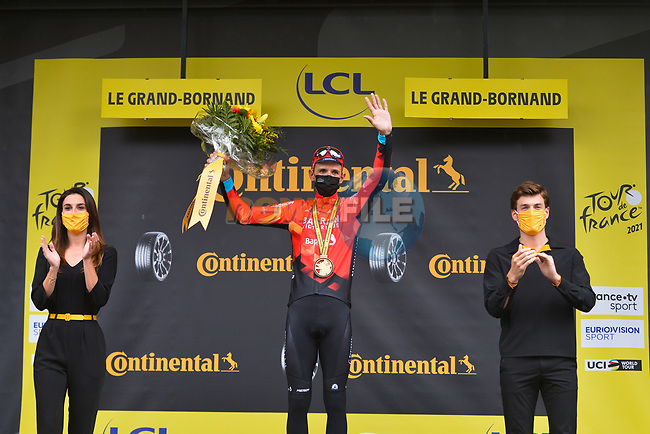 Dylan Teuns (BEL) Bahrain Victorious wins Stage 8 of the 2021 Tour de France, running 150.8km from Oyonnax to Le Grand-Bornand, France. 3rd July 2021.  <br /> Picture: A.S.O./Charly Lopez | Cyclefile<br /> <br /> All photos usage must carry mandatory copyright credit (© Cyclefile | A.S.O./Charly Lopez)