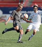 Perry Kitchen kicks the ball. US Men's National Team Under-17 defeated Canade 4-2 in the 2009 CONCACAF Under-17 Championship on April 23 in Tijuana, Mexico.