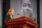 January 21, 2019; Moderator Jennifer Mason McAward, director of the Klau Center for Civil and Human Rights, introduces the panel discussion at the 2019 Martin Luther King Jr. Celebration Luncheon. (Photo by Matt Cashore/University of Notre Dame)