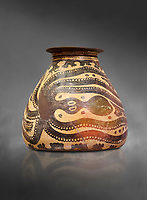 Minoan decorated clay alabastra with stylised octopus amongst rocks design, Konssos-Little Palace 1450-1370 BC; Heraklion Archaeological  Museum, grey background