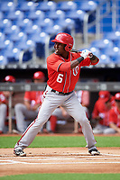 Washington Nationals Daniel Johnson (6) at bat during a Florida Instructional League game against the Miami Marlins on September 26, 2018 at the Marlins Park in Miami, Florida.  (Mike Janes/Four Seam Images)