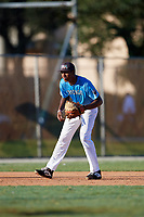 DJ Gladney during the WWBA World Championship at the Roger Dean Complex on October 19, 2018 in Jupiter, Florida.  DJ Gladney is a shortstop from Richton Park, Illinois who attends Illiana Christian High School and is committed to Eastern Kentucky.  (Mike Janes/Four Seam Images)