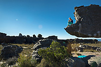 Shauna Coxsey rests after climbing 'The Rhino' 7b+/V8 in Rocklands, South Africa