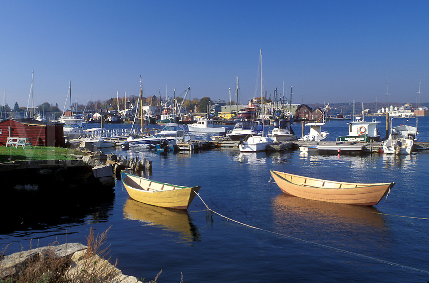 Gloucester, MA, Massachusetts, Fishing boats moored at the marina in the Inner Harbor of Gloucester in the fall.
