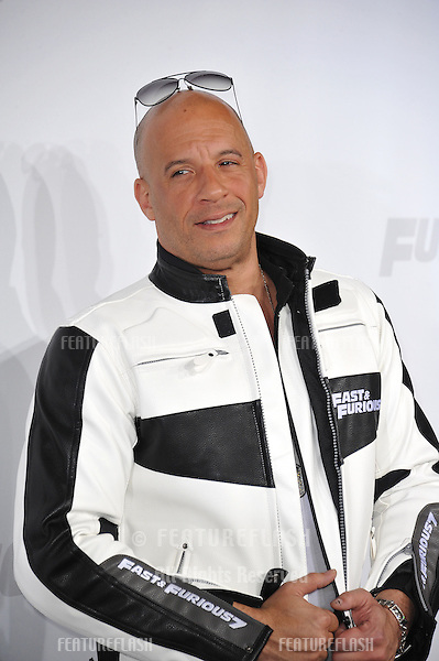 """Vin Diesel at the world premiere of his movie """"Furious 7"""" at the TCL Chinese Theatre, Hollywood.<br /> April 1, 2015  Los Angeles, CA<br /> Picture: Paul Smith / Featureflash"""