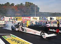 Oct 6, 2013; Mohnton, PA, USA; NHRA top fuel dragster driver Doug Kalitta during the Auto Plus Nationals at Maple Grove Raceway. Mandatory Credit: Mark J. Rebilas-