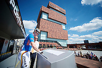 race leader André Greipel (DEU/Lotto-Belisol) signing in, in front of the impressive MAS museum<br /> <br /> World Ports Classic 2014,<br /> stage 2: Antwerpen - Rotterdam (159km)