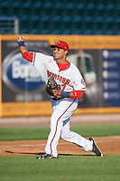 Harrisburg Senators third baseman Drew Ward (17) throws home during a game against the Bowie Baysox on May 16, 2017 at FNB Field in Harrisburg, Pennsylvania.  Bowie defeated Harrisburg 6-4.  (Mike Janes/Four Seam Images)
